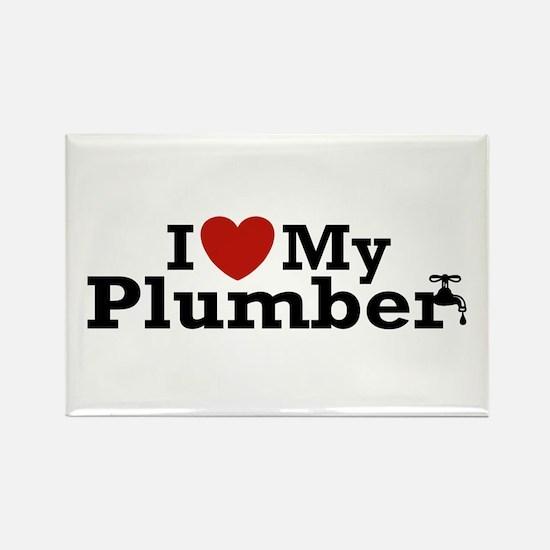 I Love My Plumber Rectangle Magnet