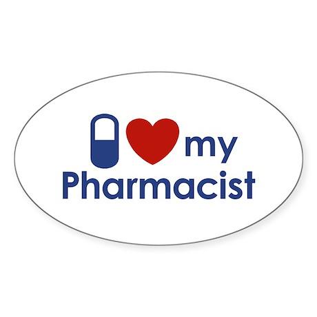 I Love my Pharmacist Oval Sticker