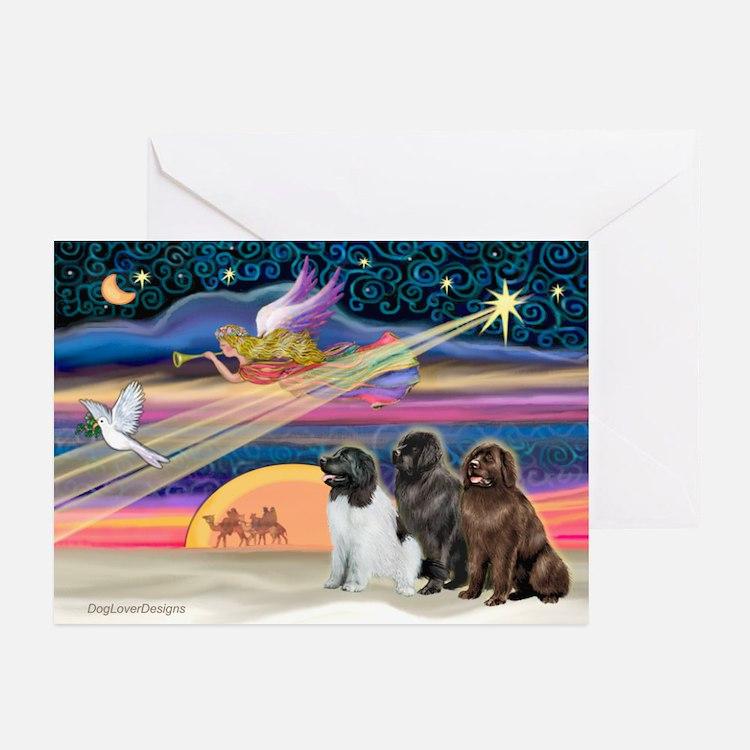 Xmas Star/3 Newfies Greeting Cards (Pk of 20)