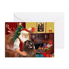 Santa's Newfoundland (br) Greeting Cards(Pk of 10)
