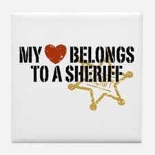 My Heart Belongs to a Sheriff Tile Coaster