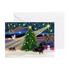 Xmas Magic-Doxie (Blk) Greeting Cards (Pk of 10)