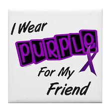 I Wear Purple For My Friend 8 Tile Coaster