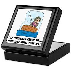 Old Fishermen Never Die Keepsake Box