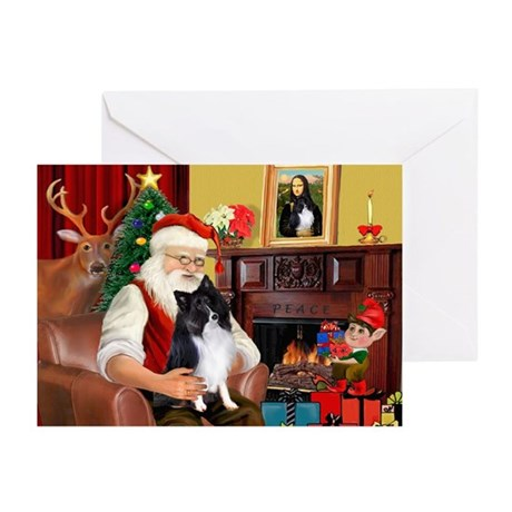Santa's Bi Black Sheltie Greeting Cards (Pk of 10)