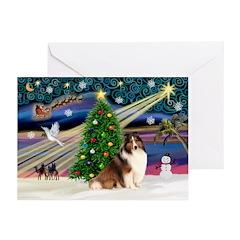 XmasMagic/Sheltie (7R) Greeting Cards (Pk of 10)