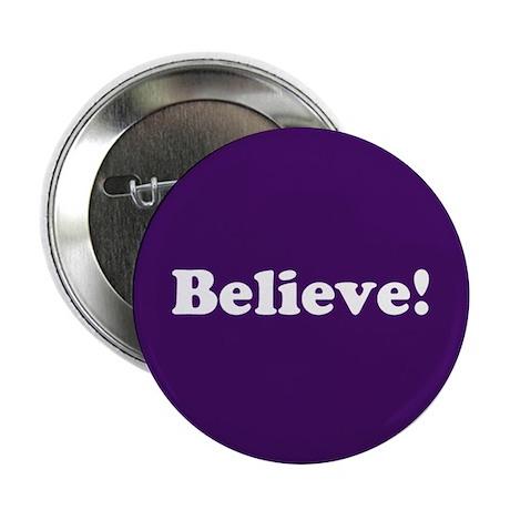 """Believe, Purple 2.25"""" Button"""