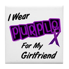 I Wear Purple For My Girlfriend 8 Tile Coaster