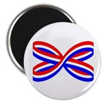 "RED, WHITE, AND BLUE RIBBON 2.25"" Magnet (100"