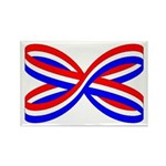 RED, WHITE, AND BLUE RIBBON Rectangle Magnet (100