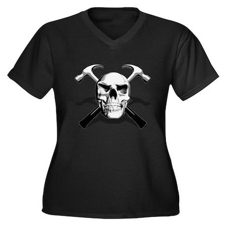Carpenter Skull Women's Plus Size V-Neck Dark T-Sh