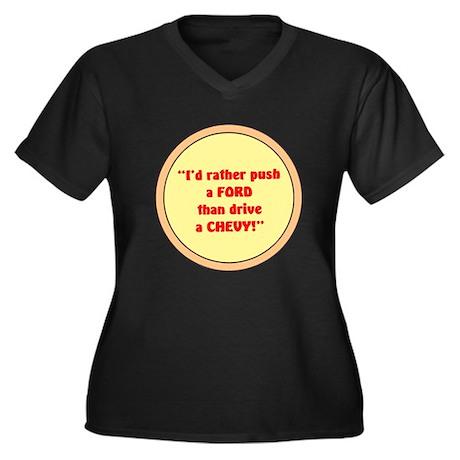 PUSH A FORD Women's Plus Size V-Neck Dark T-Shirt