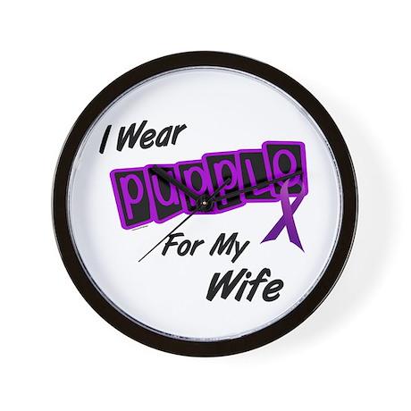 I Wear Purple For My Wife 8 Wall Clock