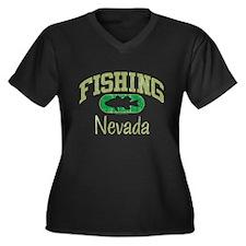 FISHING NEVADA Women's Plus Size V-Neck Dark T-Shi