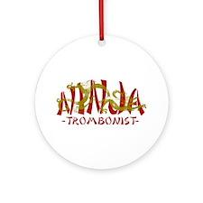Dragon Ninja Trombonist Ornament (Round)