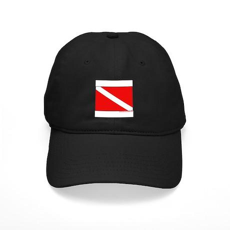 Scuba Diving Dive Flag Black Cap