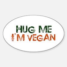 Hug Me I'm Vegan Oval Sticker (10 pk)
