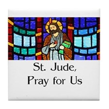 St. Jude Stained Glass Tile Coaster