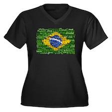 Textual Brasil Women's Plus Size V-Neck Dark T-Shi