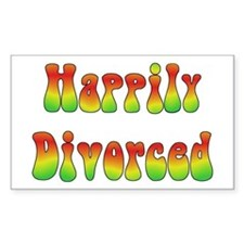 Happily Divorced 60s Rectangle Stickers