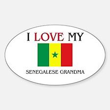 I Love My Senegalese Grandma Oval Decal