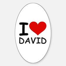 I LOVE DAVID Oval Decal