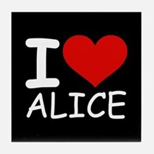 I LOVE ALICE (blk) Tile Coaster