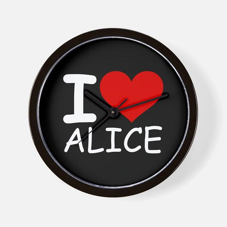 I LOVE ALICE (blk) Wall Clock