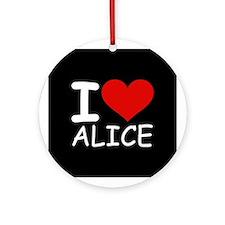 I LOVE ALICE (blk) Ornament (Round)