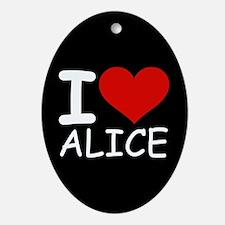 I LOVE ALICE (blk) Oval Ornament