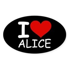 I LOVE ALICE (blk) Oval Decal