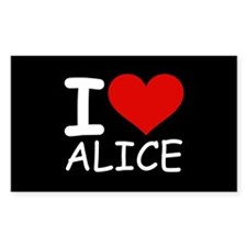I LOVE ALICE (blk) Rectangle Decal