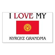 I Love My Kyrgyz Grandma Rectangle Decal