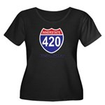 Highway 420 Women's Plus Size Scoop Neck Dark T-Sh