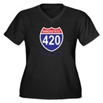 Highway 420 Women's Plus Size V-Neck Dark T-Shirt