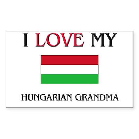 I Love My Hungarian Grandma Rectangle Sticker