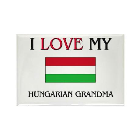 I Love My Hungarian Grandma Rectangle Magnet