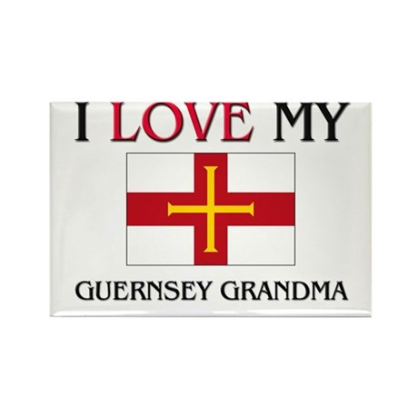 I Love My Guernsey Grandma Rectangle Magnet (10 pa