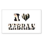 i love zebras Rectangle Sticker 50 pk)