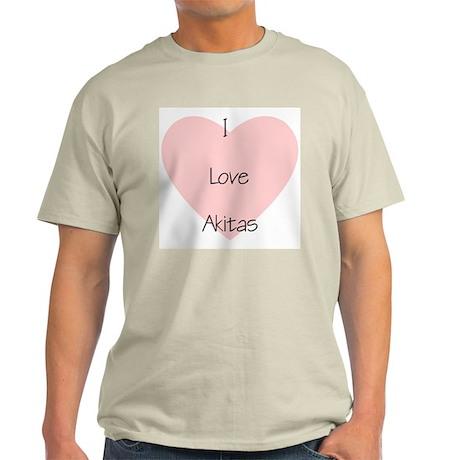 I Love Akitas Ash Grey T-Shirt