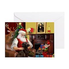 Santa's Chocolate Lab Greeting Card