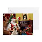 Santa's Yellow Lab #7 Greeting Cards (Pk of 10)