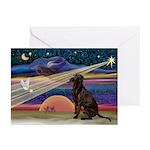 XmasStar/Labrador (Choc) Greeting Cards (Pk of 10)