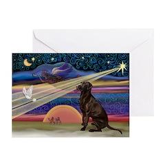 Xmas Star Chocolate Lab Greeting Cards (Pk of 20)