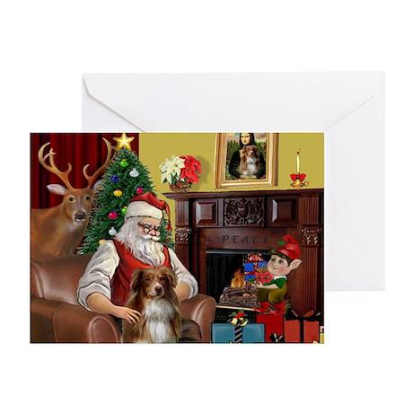 Santa's Aussie Shepherd Greeting Cards (Pk of 20)
