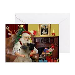 Santa's Bull Mastiff #4 Greeting Cards (Pk of 10)