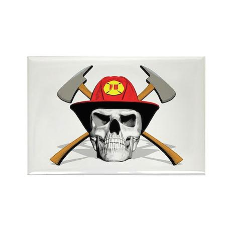 Fireman Skull Rectangle Magnet (10 pack)