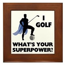 Golf Superhero Framed Tile