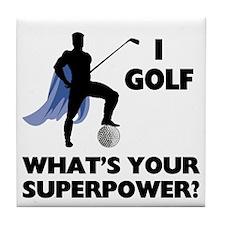 Golf Superhero Tile Coaster