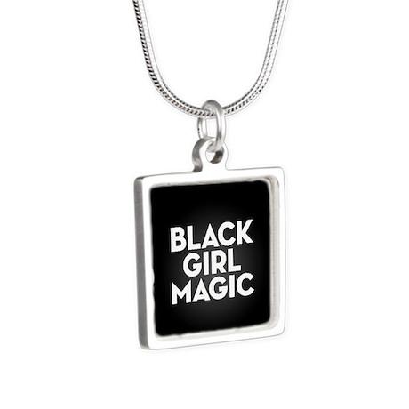Black Girl Magic Silver Square Necklace